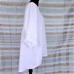 Terzo Millennio Oversided White Linen Tunic Top 1X